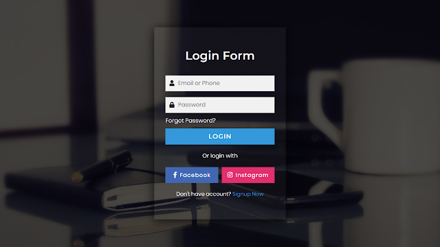 Amazing Transparent Login Form using HTML CSS & Javascript