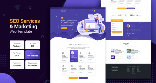 PSD File Frontend Template with 10 Home Page