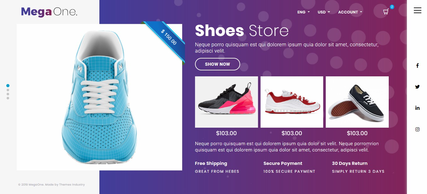 MegaOne Template - Shoes Store - Product Page - Giày